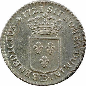 Louis XV, tiers d'écu de France, 1721 Tours
