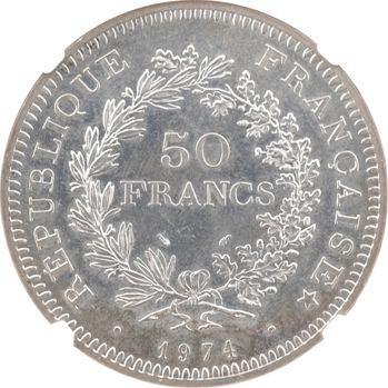 Ve République, 50 francs Hercule avers du 20 francs, NGC MS64, 1974 Pessac