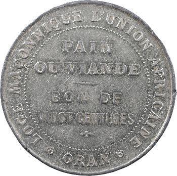 Oran, jeton de bienfaisance de la loge de l'Union africaine