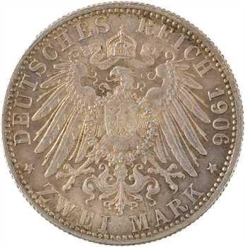 Allemagne, Bade (Grand-duché de), Frédéric I, 2 mark d'hommage, 1906