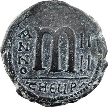 Maurice Tibère, follis, Théoupolis (Antioche), An IIII = 585-586