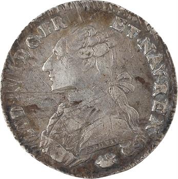 Louis XVI, cinquième d'écu aux rameaux d'olivier, 1780 Perpignan