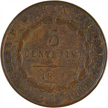 Italie, Savoie-Sardaigne, Charles Félix, 5 centesimi, 1826 Turin