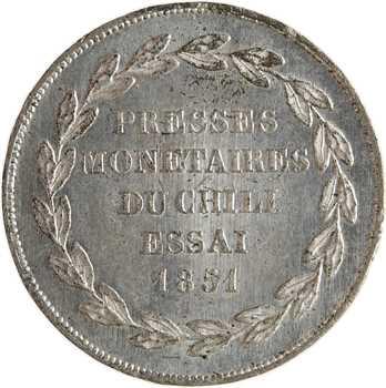 Chili, essai des presses monétaires par Barre, module de 20 francs en étain, 1851 Paris