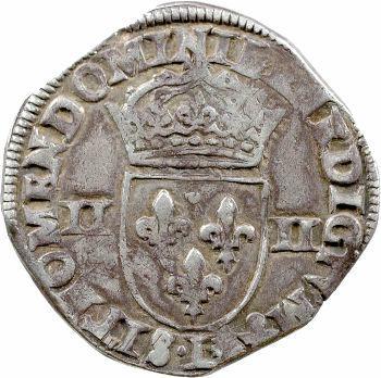 Henri IV (au nom d'Henri III), quart d'écu, croix de face, 1590 Bayonne