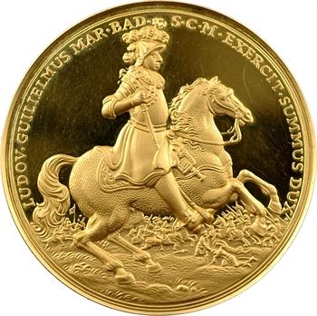 Allemagne, 300ème anniversaire du margrave Louis Guillaume et la paix de Rastatt, médaille en or PROOF, 1955