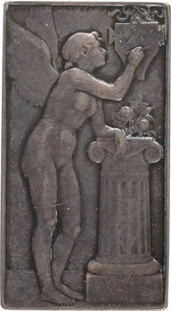 Mouchon (E.) : Génie à la tablette, plaquette de mariage, 1922 Paris
