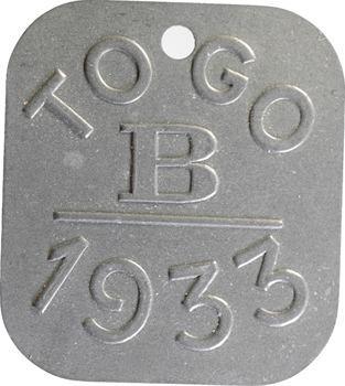 Togo, plaque de taxe, B, 1933