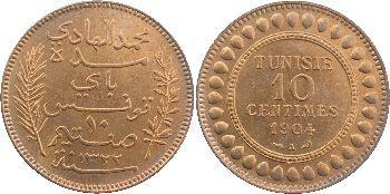 Tunisie (Protectorat français), Mohamed El Hadi, Bey, lot de 5 et 10 centimes, 1904 Paris