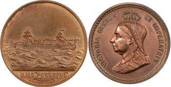 Grande-Bretagne, lot de 2 médailles, lancement du croiseur H.M.S. Powerful et jubilée de Victoria, 1895 et 1897