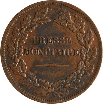 Louis-Philippe Ier, essai hybride de la presse monétaire, 1839 frappe médaille