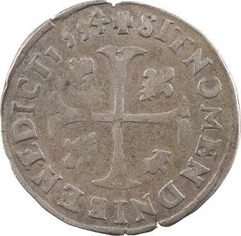 Henri IV, douzain aux 2 H couronnées 3e type, 1594 Clermont