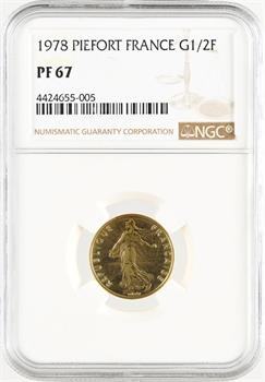 Ve République, piéfort de 1/2 franc Semeuse en or, 1978 Pessac, NGC PF67