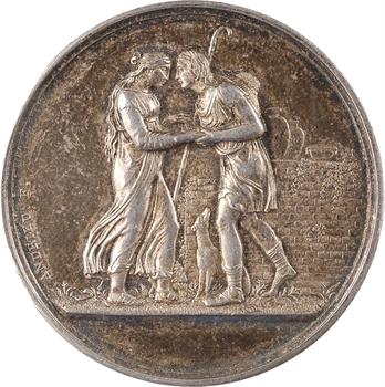 Charles X, médaille de mariage en argent, par Andrieu, 1827 Paris