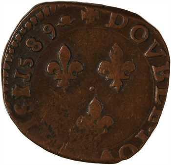 Henri III, double tournois 3e type, 1589 La Rochelle