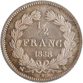 Louis-Philippe Ier, 1/2 franc, 1838 Rouen