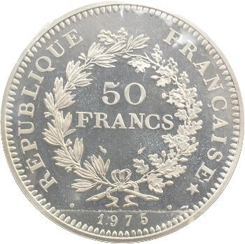 Ve République, piéfort de 50 francs Hercule, 1975 Pessac