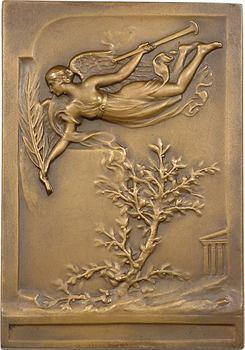 Grèce, commémoration des Jeux Olympiques à Athènes, plaquette en bronze par P. Vannier, 1906