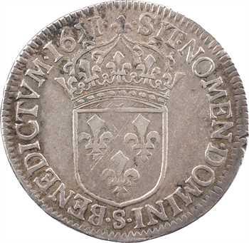 Louis XIV, demi-écu à la mèche longue, 1651 Troyes