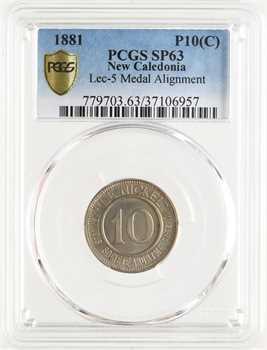 Nouvelle-Calédonie, Société le Nickel, 10 centimes, frappe médaille, 1881, PCGS SP63
