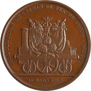 Suisse, inauguration du chemin de fer de Lyon à Genève, par Bovy, 1858