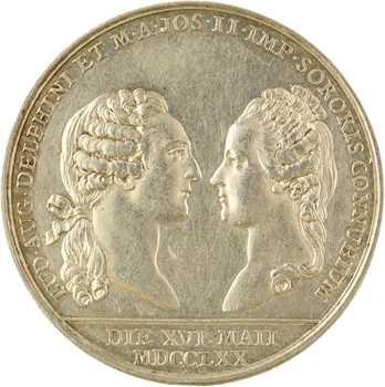 Louis XV/Louis XVIII, mariage du dauphin Louis (XVI) et de Marie-Antoinette, détournée en médaille de mariage, 1770 (1818) Paris