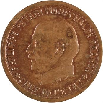 État français, essai de 5 francs Pétain type II en cuivre, 1941 Paris, non répertorié