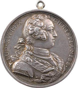 Louis XV, réorganisation des troupes sur les champs de bataille, transformée en médaille de mariage, 1732/1816 Paris