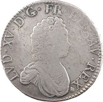 Louis XV, écu dit Vertugadin, flan neuf, 1718 Troyes