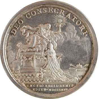 Louis XVI, sacre à Reims le 11 juin 1775, par B. Duvivier, en argent, détournée en médaille de mariage, 1775 (1781) Paris