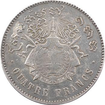 Cambodge, Norodom Ier, quatre francs, 1860 (1899) Phnom Penh