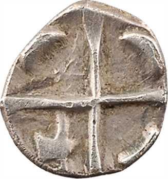 Volques Tectosages, obole à la croix, série I cubiste, IIe-Ier s. av. J.-C
