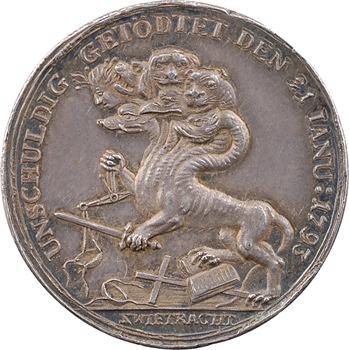 Mort de Louis XVI, médaille contre-révolutionnaire allemande, après 1793