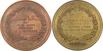 IIIe République, Assemblée nationale, coffret de 2 médailles au député Mesmin Florent Bernier (Loiret), 1879 Paris