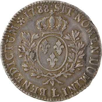 Louis XVI, écu aux rameaux d'olivier, 1788 Bayonne