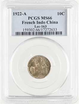 Indochine, 10 centièmes, 1922 Paris, PCGS MS66