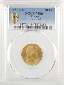 Second Empire, 20 francs tête laurée, 1861 Paris, PCGS MS64