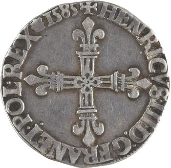 Henri III, quart d'écu croix de face, 1585 Saint-Lô
