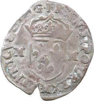 Henri III, douzain aux 2 H, 1er type, 1589 Toulouse