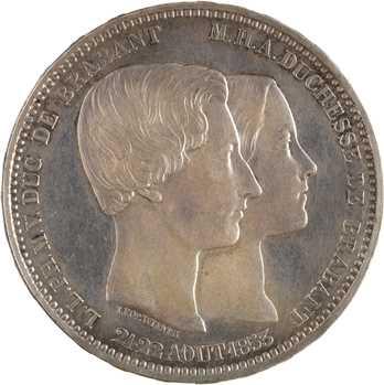 Belgique (royaume de), Léopold Ier, 5 francs mariage du Duc de Brabant, 1853 Bruxelles