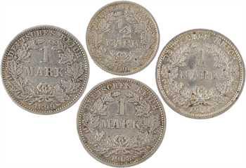 Allemagne (Empire allemand), lot de 4 pièces, 1/2 mark 1907-F et 1 mark 1899-E, 1907-D et 1908-D