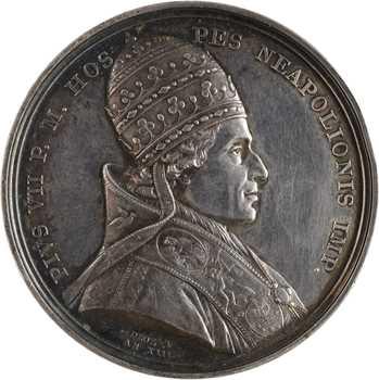 Premier Empire, le sacre de Napoléon Ier par Pie VII, détournée en médaille de mariage, An XIII (1804/1809) Paris