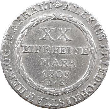 Allemagne, Anhalt-Bernburg (duché d'), Alexis-Frédéric-Christian, florin, 1808 Bernburg