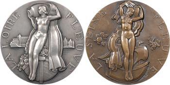 Fleuves : lot de 2 médailles de fleuves, la Loire (argent) et la Seine, par Renard, 1936 Paris