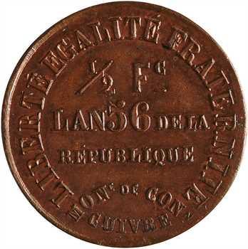 IIe République, 1/2 franc de la Banque du peuple, 1848, An 56, Paris