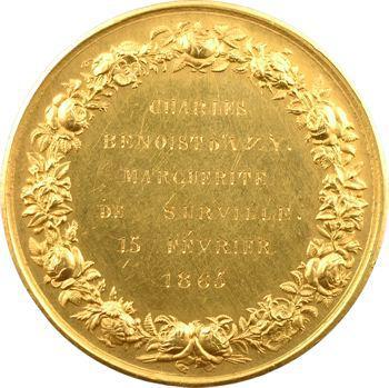 Second Empire, médaille de mariage Benoist D'Azy et De Surville, 1865 Paris