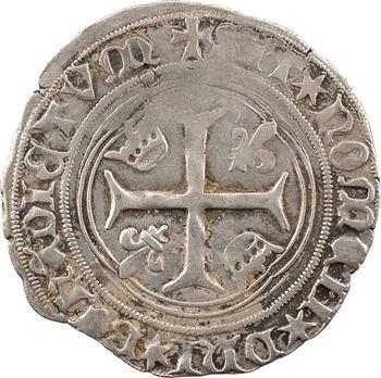 Louis XI, blanc à la couronne (molettes à 6 pointes), 2e émission, Châlons-en-Champagne