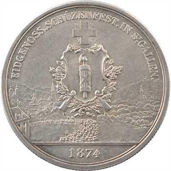 Suisse, Saint-Gall, 5 francs ou thaler de tir, 1874