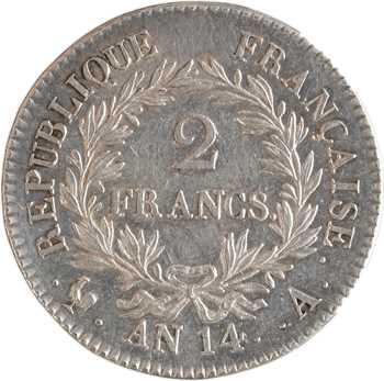 Premier Empire, 2 francs calendrier révolutionnaire, An 14 Paris