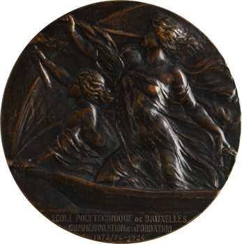 Belgique, cinquantenaire de l'école polytechnique, fonte par Huygelen, 1874-1924 Bruxelles